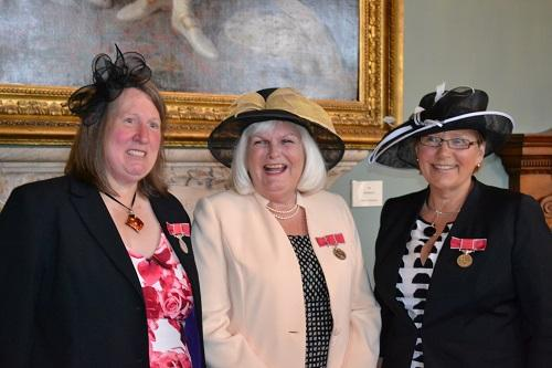 Receiving their British Empire Medal - Mrs Penelope Webb, Mrs Judith Megarry and Cllr Liz Eyre